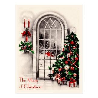 クリスマスの窓のヴィンテージの郵便はがき ポストカード