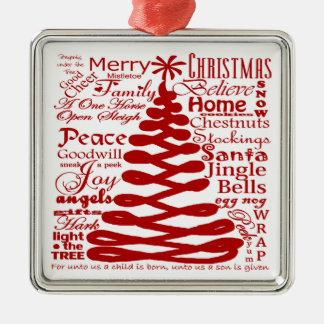 クリスマスの精神の抽象的な木W/Textの書道 メタルオーナメント