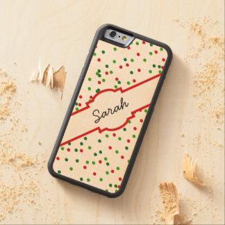 クリスマスの紙吹雪 •   王室のなアイシングは振りかけます CarvedメープルiPhone 6バンパーケース