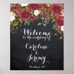 クリスマスの結婚式の印の赤の歓迎の黒板 ポスター