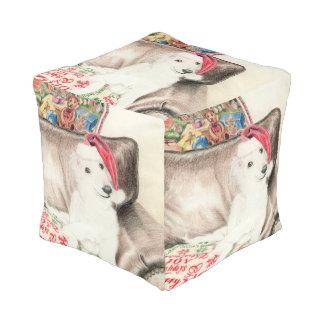 クリスマスの絹のWindhoundの子犬のキューブパフ プーフ