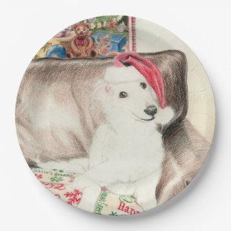 クリスマスの絹のWindhoundの子犬の紙皿 ペーパープレート