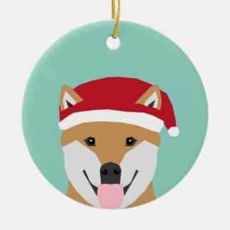 クリスマスの総督のオーナメント-柴犬のクリスマス犬 セラミックオーナメント