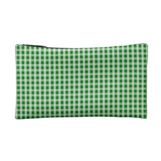 クリスマスの緑のギンガムの点検の格子縞 コスメティックバッグ