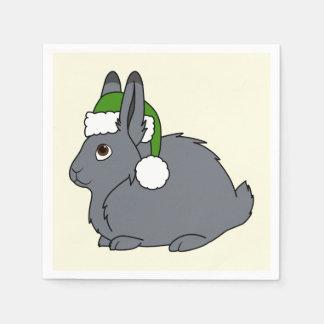 クリスマスの緑のサンタの帽子が付いている灰色の北極ノウサギ スタンダードカクテルナプキン