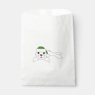 クリスマスの緑のサンタの帽子が付いている白い子どものアシカ フェイバーバッグ