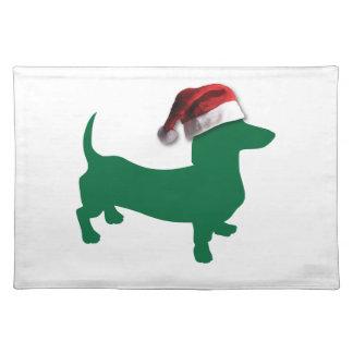 クリスマスの緑のダックスフント ランチョンマット