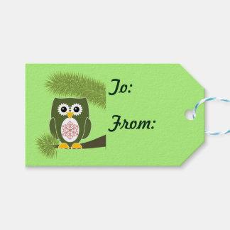 クリスマスの緑のフクロウのギフトのラベル ギフトタグ