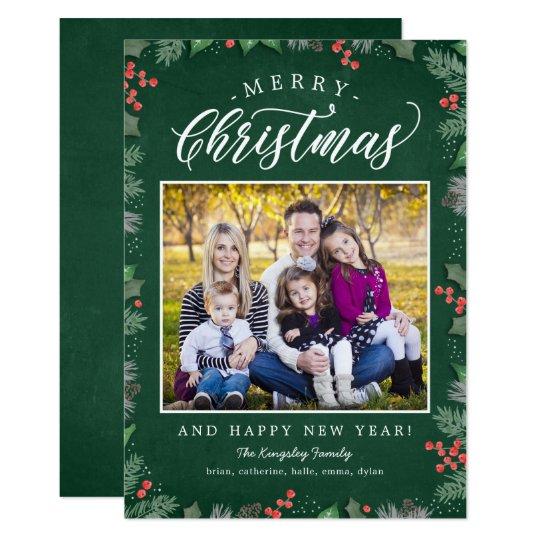 クリスマスの群葉の編集可能背景の休日カード カード