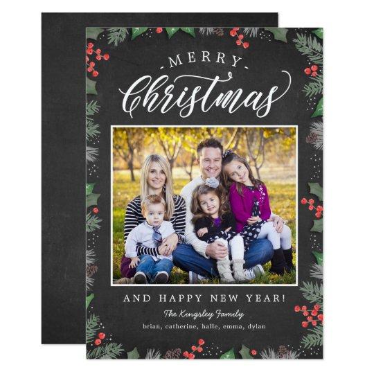 クリスマスの群葉の編集可能背景の休日カード 12.7 X 17.8 インビテーションカード