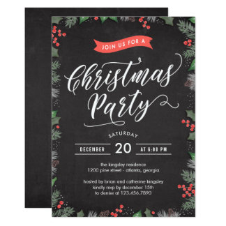 クリスマスの群葉編集可能色のパーティの招待状 12.7 X 17.8 インビテーションカード