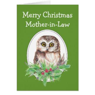 クリスマスの義母のかわいいフクロウの鳥のヒイラギのマツ カード