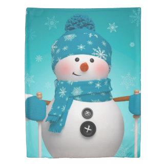 クリスマスの羽毛布団カバーか雪だるまのスキー 掛け布団カバー