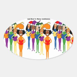 クリスマスの聖歌隊のステッカー 楕円形シール