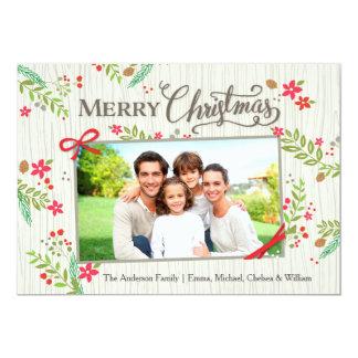 クリスマスの花のリボンの白 カード