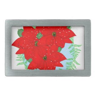 クリスマスの花の赤いポインセチアのお祝いのリース 長方形ベルトバックル