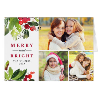 クリスマスの花模様|の水彩画の写真のコラージュ カード