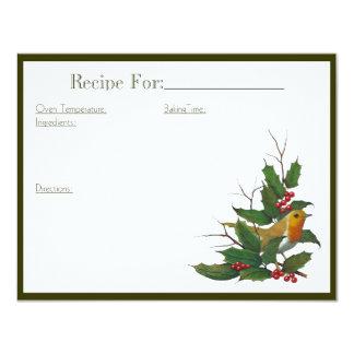 クリスマスの芸術のレシピカード: 英語ロビンのヒイラギ 10.8 X 14 インビテーションカード