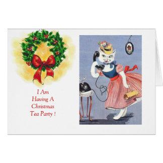 クリスマスの茶パーティの招待状 カード