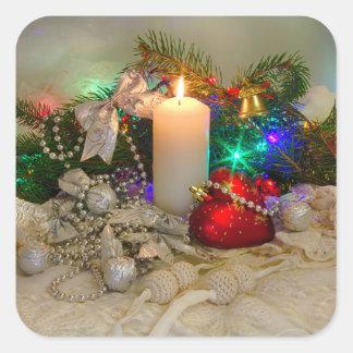 クリスマスの蝋燭およびハート形のおもちゃ スクエアシール