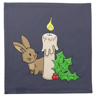 クリスマスの蝋燭が付いているバニー ナプキン