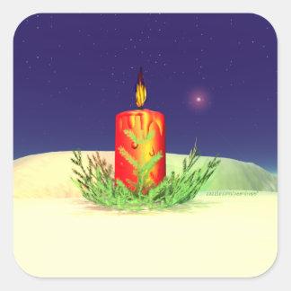 クリスマスの蝋燭夜赤 スクエアシール