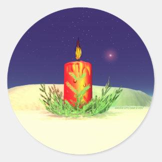 クリスマスの蝋燭夜赤 丸型シール