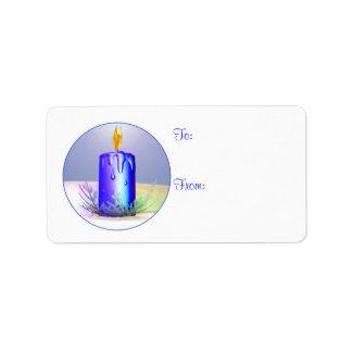 クリスマスの蝋燭夜青いギフトのラベル ラベル