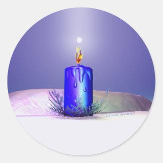 クリスマスの蝋燭夜青 ラウンドシール
