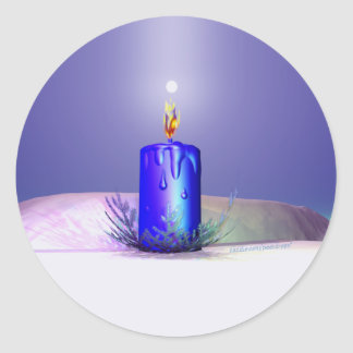 クリスマスの蝋燭夜青 丸形シールステッカー
