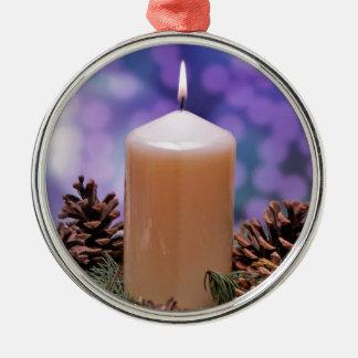 クリスマスの蝋燭 メタルオーナメント