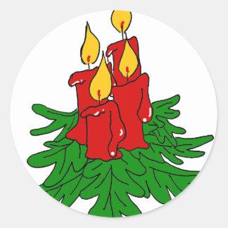 クリスマスの蝋燭 ラウンドシール