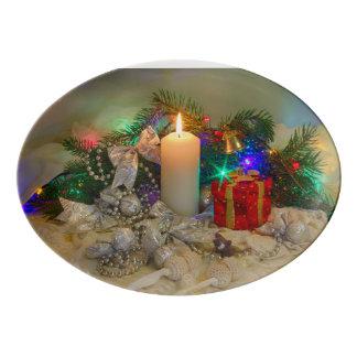 クリスマスの蝋燭 磁器大皿
