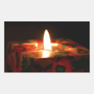 クリスマスの蝋燭 長方形シール
