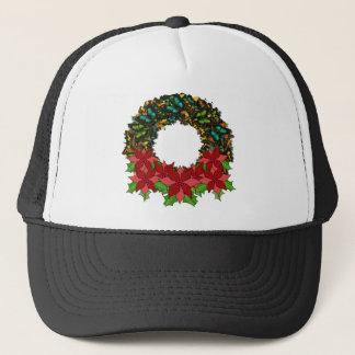 クリスマスの蝶ポインセチアのリースの帽子 キャップ