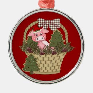 クリスマスの豚のようなバスケットのオーナメント メタルオーナメント
