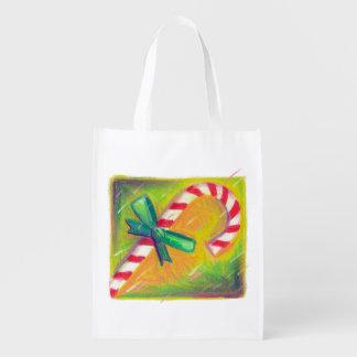 クリスマスの買い物袋のCandycaneのジンジャーブレッドマン エコバッグ