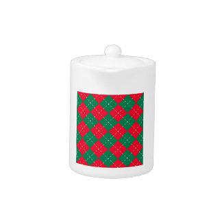 クリスマスの赤いおよび緑のアーガイル柄のなパターン