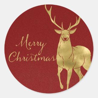 クリスマスの赤いおよび金雄鹿 ラウンドシール