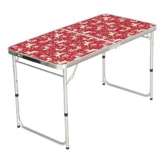 クリスマスの赤いお祝い動物のテーブル ビアポンテーブル