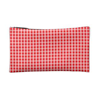 クリスマスの赤いギンガムの点検の格子縞パターン コスメティックバッグ