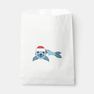 クリスマスの赤いサンタの帽子が付いている淡いブルーの子どものアシカ フェイバーバッグ