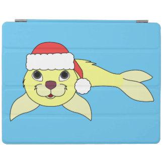 クリスマスの赤いサンタの帽子が付いている黄色い子どものアシカ iPadスマートカバー