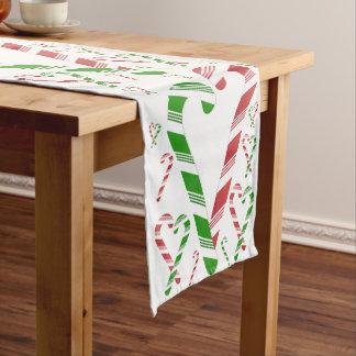 クリスマスの赤い及び緑のキャンディ・ケーンのテーブルのランナー ショートテーブルランナー