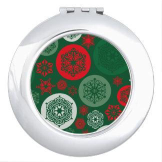 クリスマスの赤い及び緑の雪片のオーナメントパターン