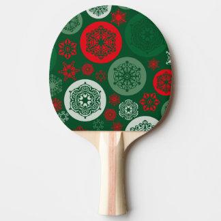 クリスマスの赤い及び緑の雪片のオーナメントパターン 卓球ラケット
