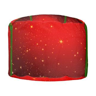 クリスマスの赤い星のラウンドパフ プーフ