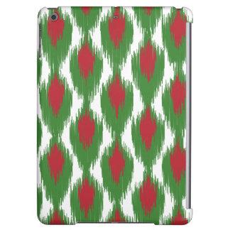 クリスマスの赤い緑の種族のイカットのダイヤモンドパターン iPad AIRケース