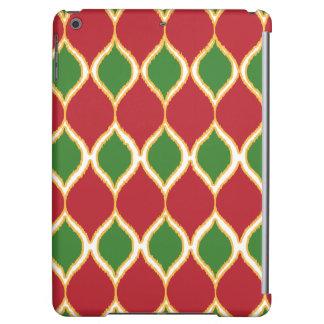 クリスマスの赤い緑のGeoのイカットの種族のプリントパターン