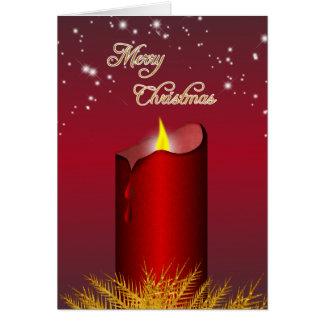 クリスマスの赤い蝋燭の挨拶状 カード